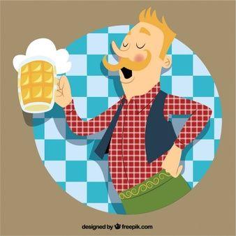 Hombre alemán con una jarra de cerveza