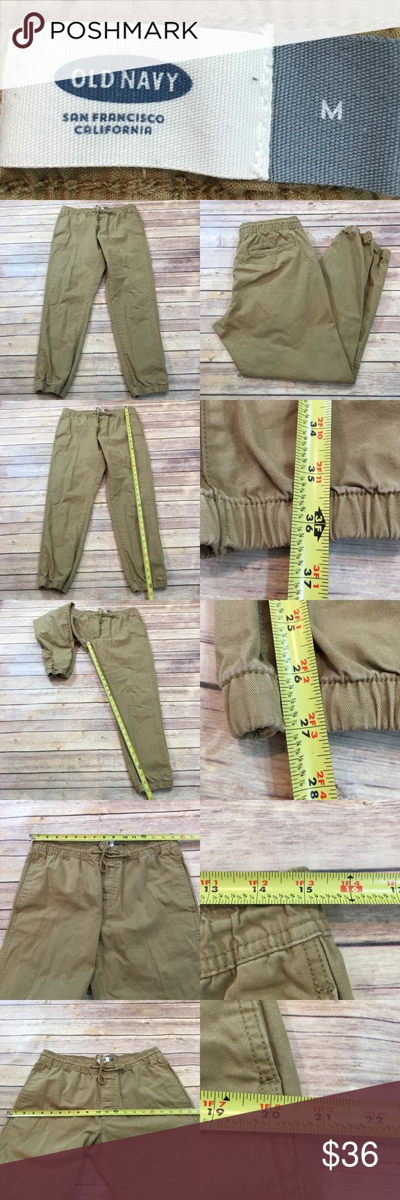 🌳Size Medium Old Navy Joggers Men's Khaki Pants Measurements are in photos. Normal wash wear, no flaws. D3/58  I do not comment to my buyers after purchases, due to their privacy. If you would like any reassurance after your purchase that I did receive your order, please feel free to comment on the listing and I will promptly respond.   I ship everyday and I always package safely. Thank you for shopping my closet! Old Navy Pants Sweatpants & Joggers