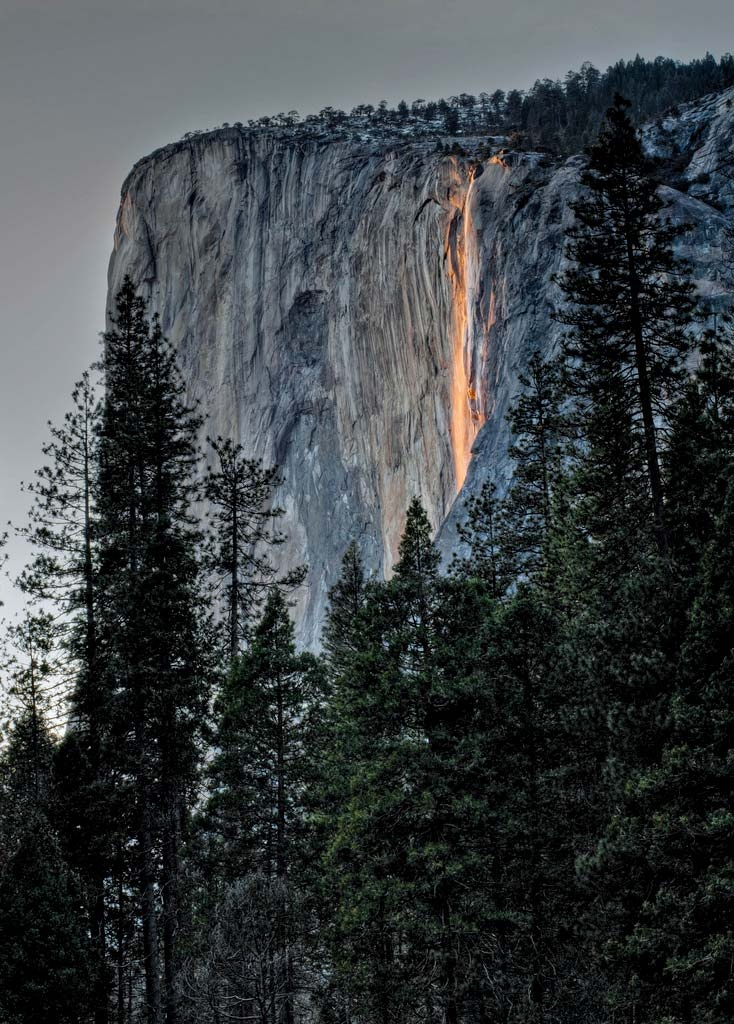 Horsetail Falls in Yosemite National Park. Sunlight reflecting off the falls creates the illusion of a cascade of fire. Credit: © Joseph Fronteras