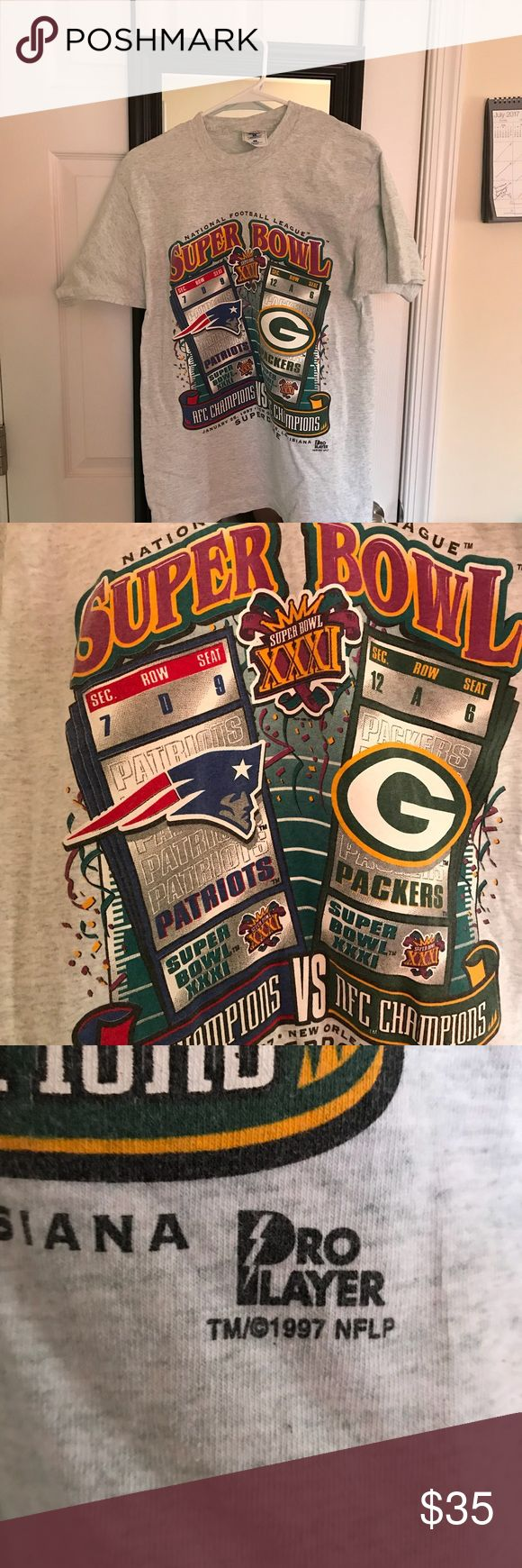 VINTAGE Super Bowl XXXI Packers/Patriots t-shirt EXCELLENT CONDITION T-SHIRT FROM SUPER BOWL 31! Perfect for any collector. Shirts Tees - Short Sleeve