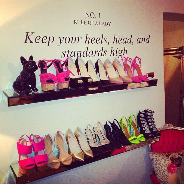 shoe display idea for walk in closet or a smaller room. display