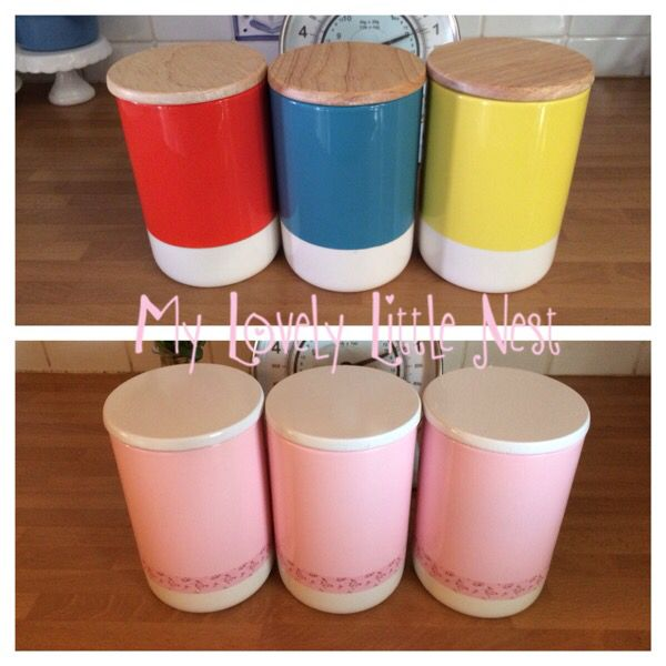 Spray paint and washi tape to transform these kitchen canisters
