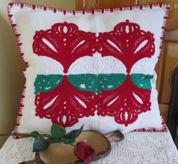 ON SALE 159. Vintage hand embroided pillow sham hand