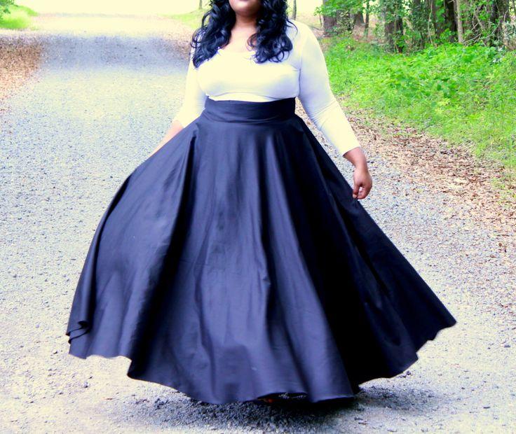 Plus Size Maxi Skirt / Women plus size High by aconversationpiece, $139.00