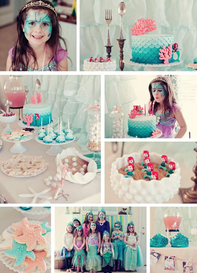 Ariel-inspired mermaid birthday party... so pretty. Even if I don't have a girl, soooo pretty!