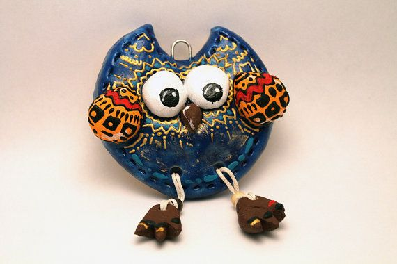 Owl Handmade from Salt Dough Gift Ornament Kid's room decoration Wall Decoration Speech balloon Birthday Mothers Day Fathers Day Gift Gifts