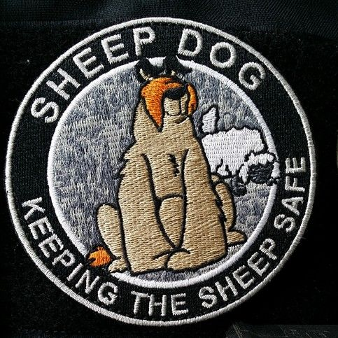 3.5 Sheepdog Protecting The Sheep morale patch. (Subdued)  Velcro backed