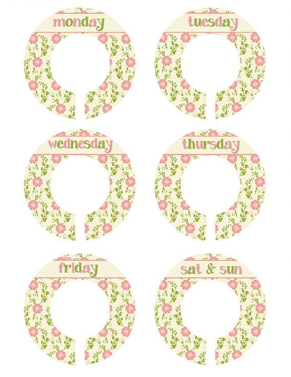 Weekday Closet Organizers Flower Closet by MoonLitPrintables