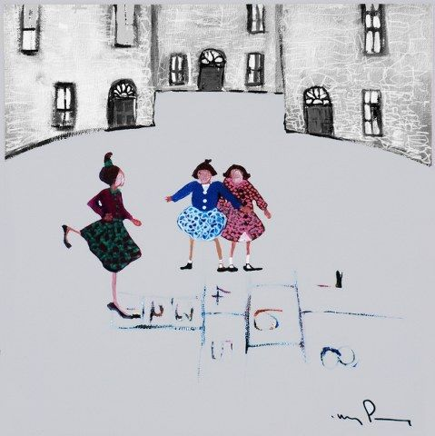 Limited edition giclee print , sent in a tube , each print is signed and numbered and comes with a Certificate of Authenticity. http://www.marketdirect.ie/Hopscotch
