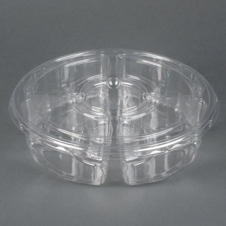 """Par-Pak 5E068A-4+1P-C 10"""" Clear PET Round 5 Compartment Catering Tray with Lid - 5 / Pack"""