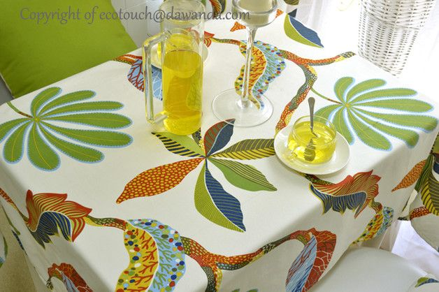 Durable summer plam tree flowers leaves tablecloth. Great quality fabric,eco friendly 100% cotton reactive dyeing,one yard weighs approx 13.40 oz (380g). Edges are hemmed to create a clean...