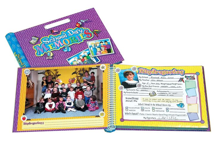 """The school day memories book provides a safe place to house your treasured mementos; from pre-school through grade 12. The book holds both class photos and individual photos, and includes 10"""" × 12"""" pockets to hold school work and awards. Includes pen with holder."""