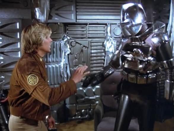 Starbuck (Dirk Benedict) & Cy (Rex Cutter) - Galactica 1980 S01E10: The Return of Starbuck (1980)