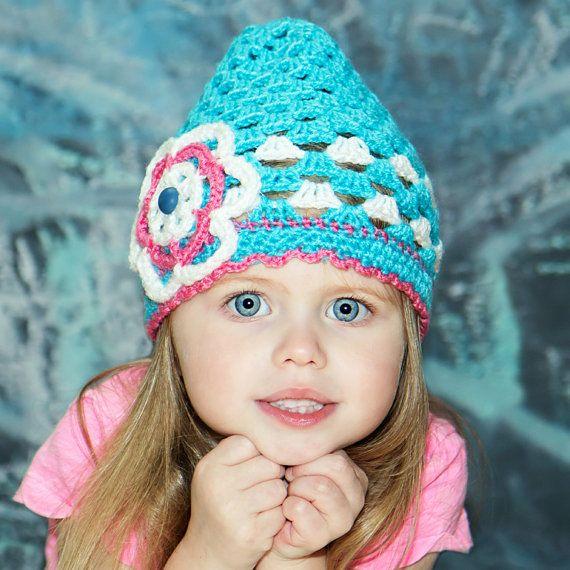 3T Blue crochet hat girls floral hat kids hat for by HandmadeTrend