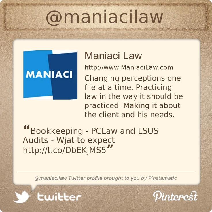 @maniacilaw's Twitter profile Toronto Legal eagles!!
