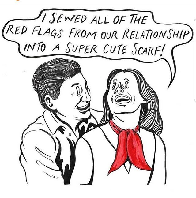 Why Do We Ignore Or Avoid Red Flags That Shit Is Bright Red For A Reason Artist Puppyteeth Sexstuffwithkristin Redfla Red Flag Funny P Grandma Funny