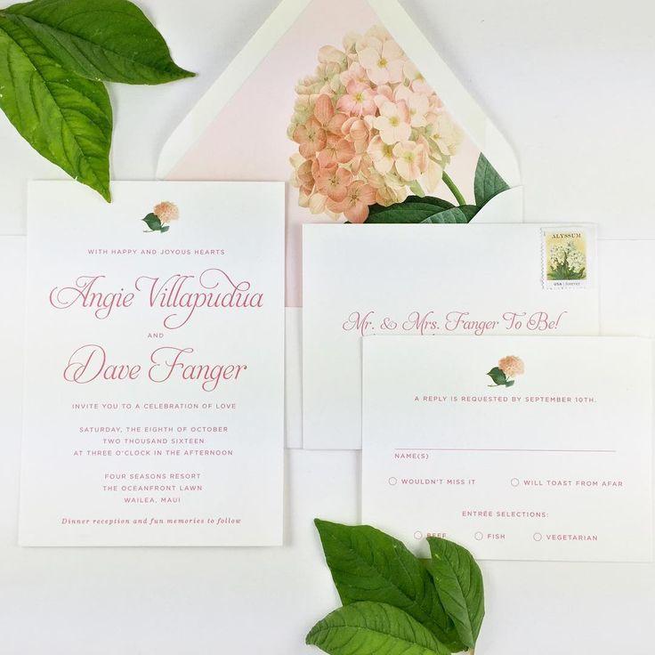 Hydrangea envelope liner for Hawaiian Wedding Invitation