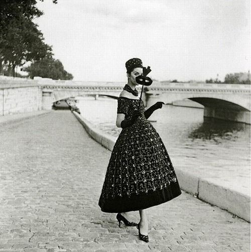 A masquerade in Paris, 1958. Gown by Dior.
