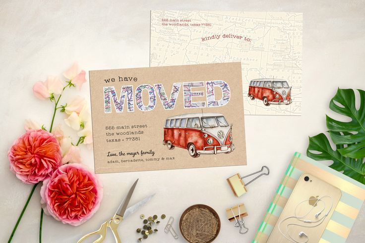 Retro VW Bus Moving Announcement. Printable Kraft Moving Cards. Printable Map Moving Card. Map Moving Announcement. Volkswagen Moving Card by MeyerMarketDesigns on Etsy
