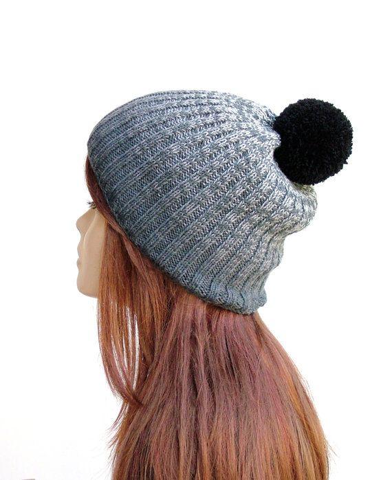 Ombre knit pom pom hat in grey and black by Rukkola on Etsy. #pompomhat #ombrehat #pompombeanie