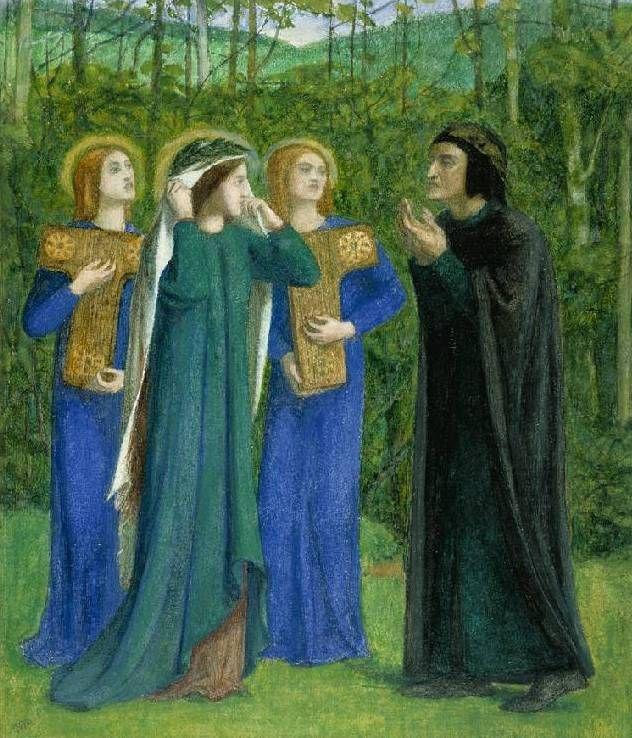 Dante Gabriel Rossetti - Dante and Beatrice meeting in Purgatory