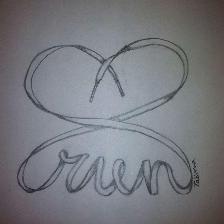 Run runner running tattoo art love heart tat shoe lace love race