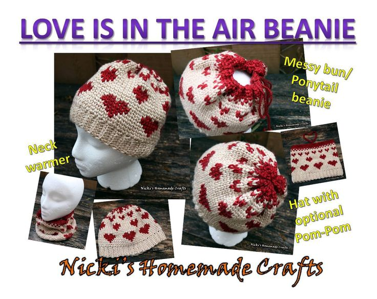 Since the Knit Stitch AKA Waistcoat Stitch seems to be trending now and the messy bun beanie is still trending, I decided to combine the two into one pattern. And since Valentine's Day is com…