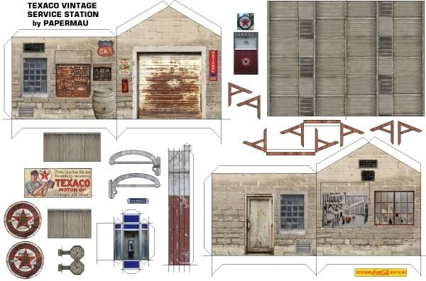 Free Scale Paper House Papermau: Texaco Vintage Sevice Station Paper Model Diorama