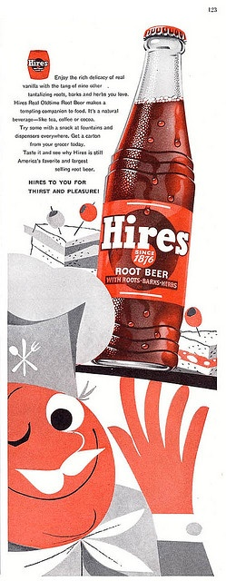... illustrated ad for Hires Root Beer. #vintage #food #drinks #1950s #ads