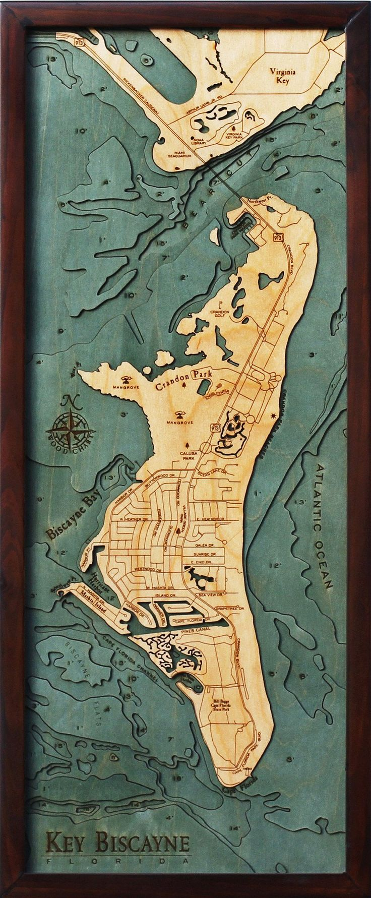 Houston Map Framed%0A Key Biscayne  Florida Wood Map