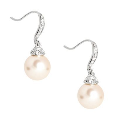 Jon Richard Crystal stick and cap pearl drop earring- at Debenhams.com