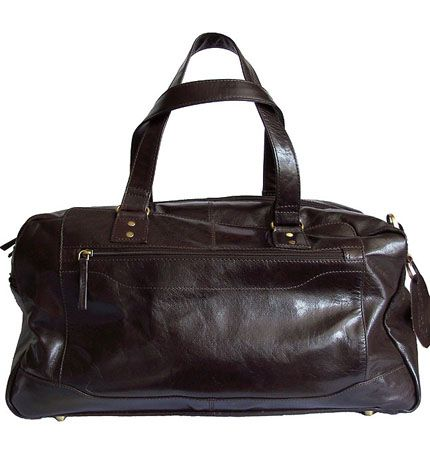 Woodland Leather Dark Brown Leather Holdall/Travel Bag