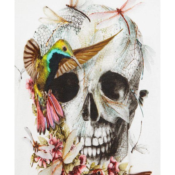 Alexander McQueen White Skull and Hummingbird Print T ...