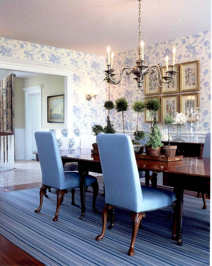 Traditional Dining Room with Blue Chairs u0026