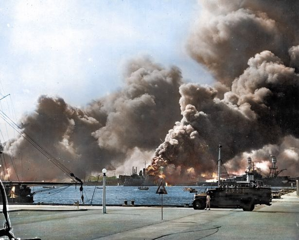 Horrifying Pearl Harbour attack brought back to life in remarkable colour photographs by British electrician - Mirror Online