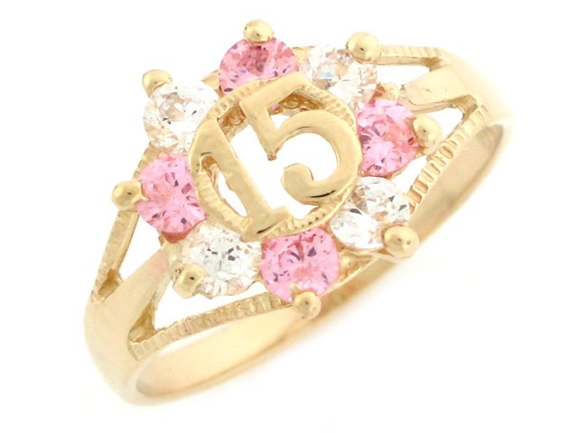 A Quinceanera may be given a ring to symbolize the circle of life... Here's an example of a 10k Yellow Gold Pink and White CZ Birthstone 15 Anos Quinceanera Ring