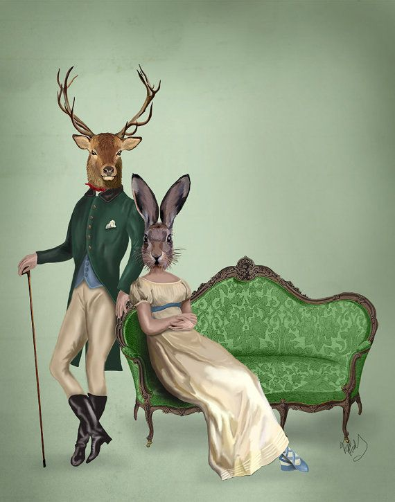 Hey, I found this really awesome Etsy listing at https://www.etsy.com/listing/186438905/mr-deer-and-mrs-rabbit-poster-14x11