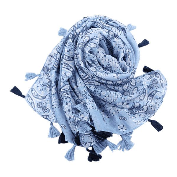 Tassels Paisley Pattern Vintage Shawl Scarf Light Blue ($6.97) ❤ liked on Polyvore featuring accessories, scarves, zaful, paisley shawl, paisley scarves, light blue scarves, tassel scarves and shawl scarves