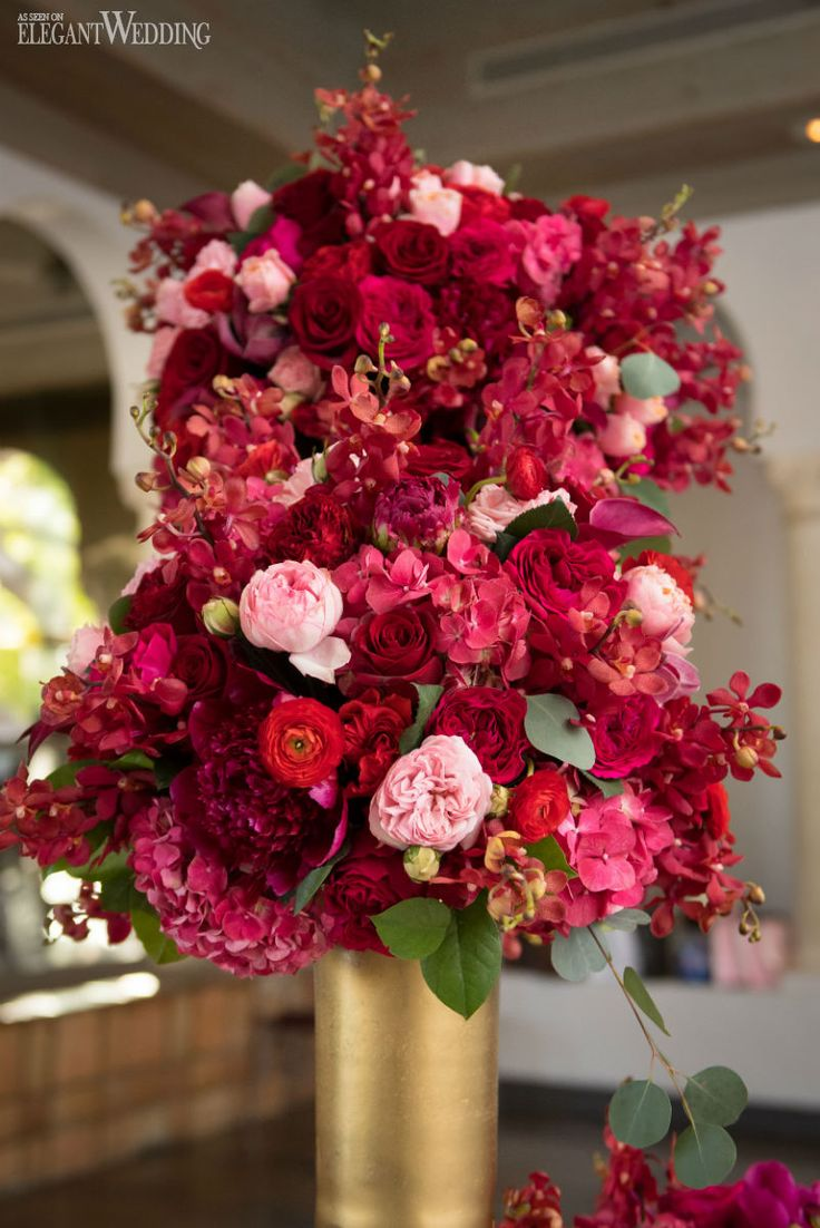 Red and Gold Wedding Flowers Glamorous Red