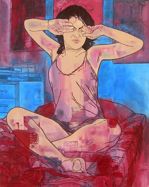 Siete menos cuarto-Serie Autorretrato de la artista adolescente 100 cm x 80 cm Acrílico-Lienzo 2007 1000€ #arte #art #cuban #LisandraIsabelGarcia