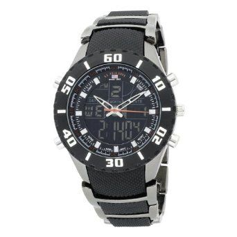 U.S. Polo Assn. Sport Men's US8163 Analog-Digital Black Dial Gun Metal Bracelet Watch