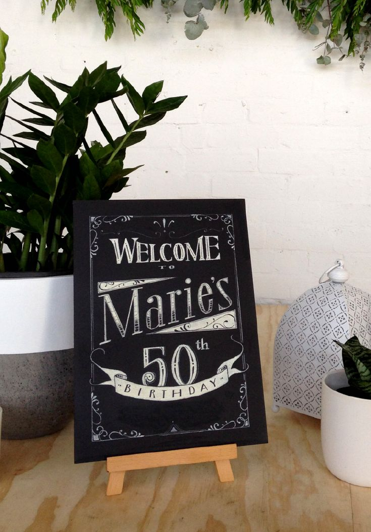 Chalkboard art welcome sign in a vintage black-and-white design, by @inkifyaustralia