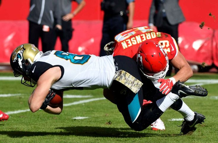 Jaguars vs. Chiefs  -  19-14, Chiefs  -  November 6, 2016  -    Jacksonville Jaguars wide receiver Bryan Walters (81) is tackled by Kansas City Chiefs defensive back Daniel Sorensen (49) during the first half of an NFL football game in Kansas City, Mo., Sunday, Nov. 6, 2016.