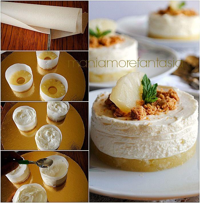 """Una cheesecake all'ananas diversa dal solito, monoporzione e """"sottosopra""""! Un dolce senza cottura che diventerà il vostro preferito per tutta l'estate!"""
