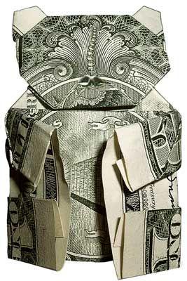 Papiroflexia hecha con billetes. Oso de peluche #origami #papiroflexia