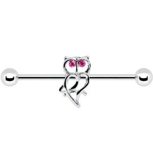 Surgical Steel Pink CZ Eyes Owl Industrial Barbell 31mm: Body Candy