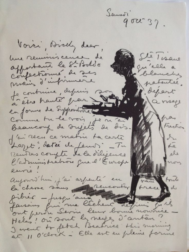 Illustrated Letter from Raymond Woog to Violette
