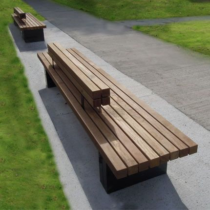 bench with hardwood seat and steel feet for public space