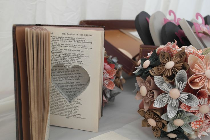 The rings were held in the book in which I had cut out paper hearts from which were used as our bunting