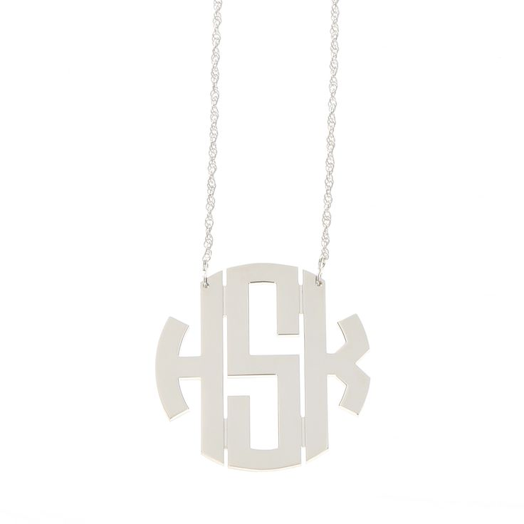 Monogram Large Sterling Silver Circle Monogram Filigree Necklace